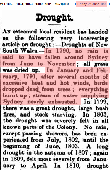 Sydney Had No Rain For Six Months In 1790