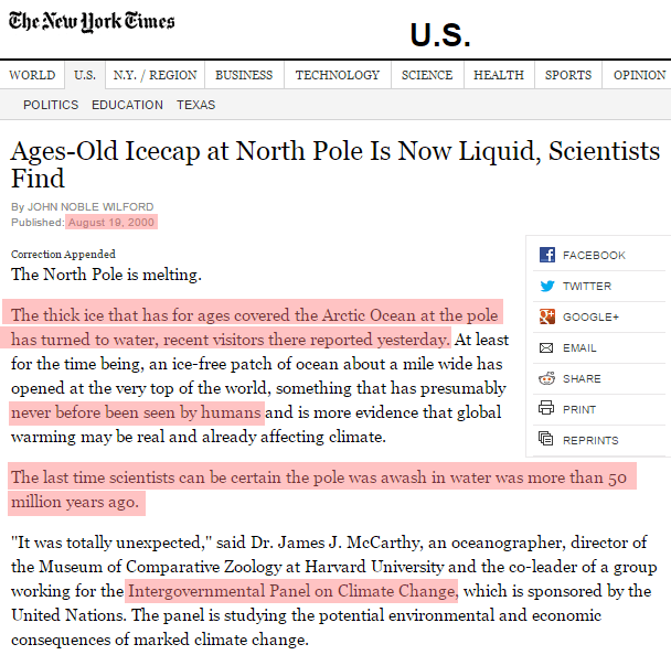 IPCC announced that the North Pole was ice-free