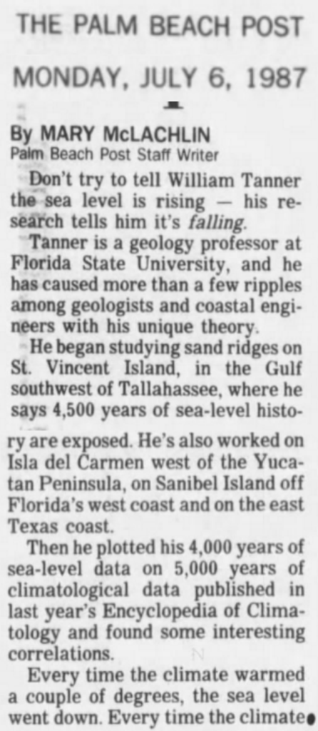 Flashback 1987: 'Global Warming' Causes Sea Levels to Fall — 2016: 'Global Warming' Causes Slowdown In Sea Level Rise