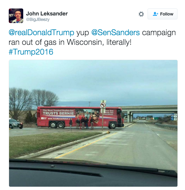 bernie 39 s campaign ran out of gas in wisconsin yesterday discussionist. Black Bedroom Furniture Sets. Home Design Ideas