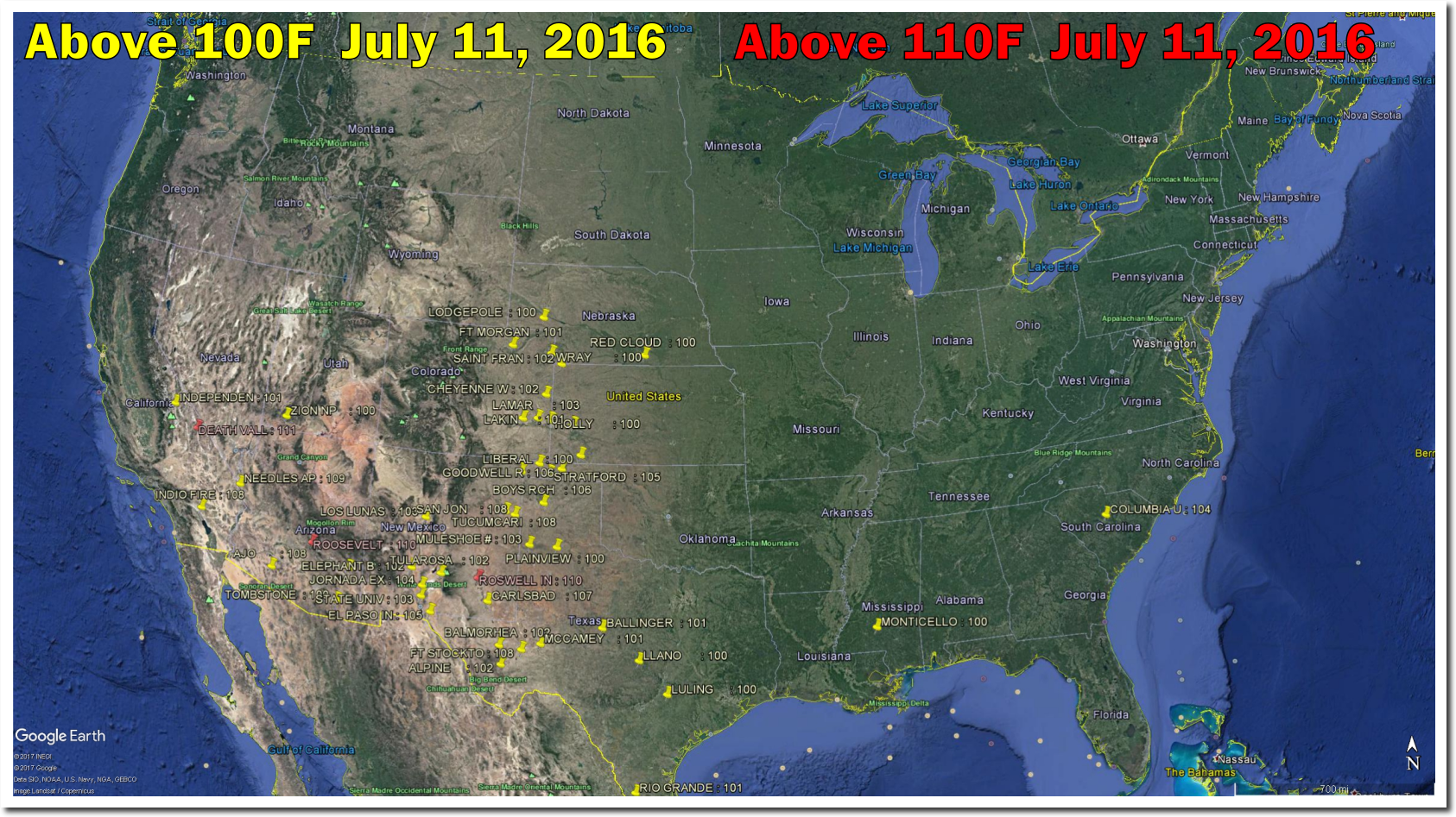 Plummeting July  Temperatures In The US The Deplorable Climate - Us weather map july