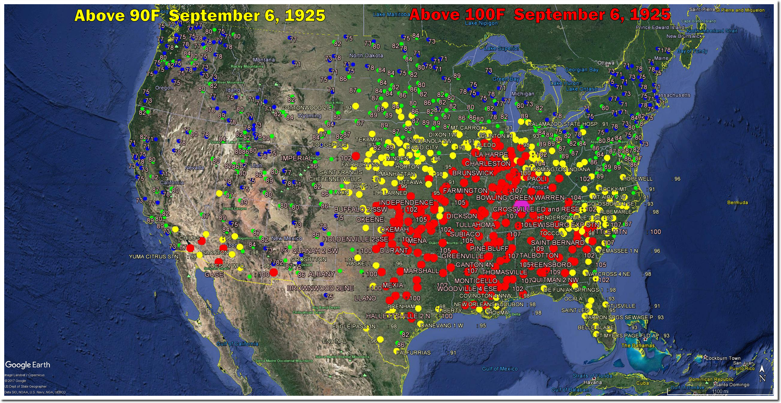 Plummeting September Temperatures In The US The Deplorable - Google earth map of southeast us