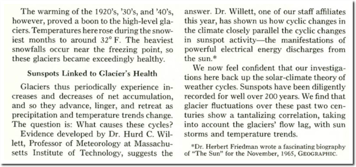 National Geographic 1967 – Sunspots Control Earth's Climate, Not CO2