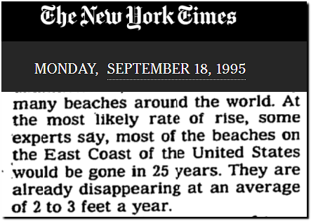 Flashback 1995: New York Times failed 2020 prediction: Most East Coast Beaches 'Gone in 25 years'